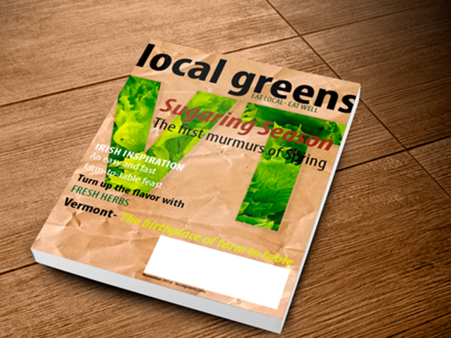 The cover of local greens, a magazine focusing on farm-to-table living.